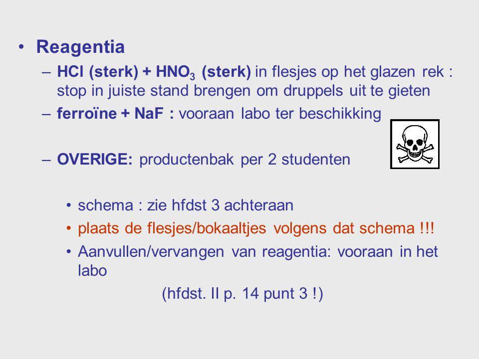 Reagentia –HCl (sterk) + HNO 3 (sterk) in flesjes op het glazen rek : stop in juiste stand brengen om druppels uit te gieten –ferroïne + NaF : vooraan