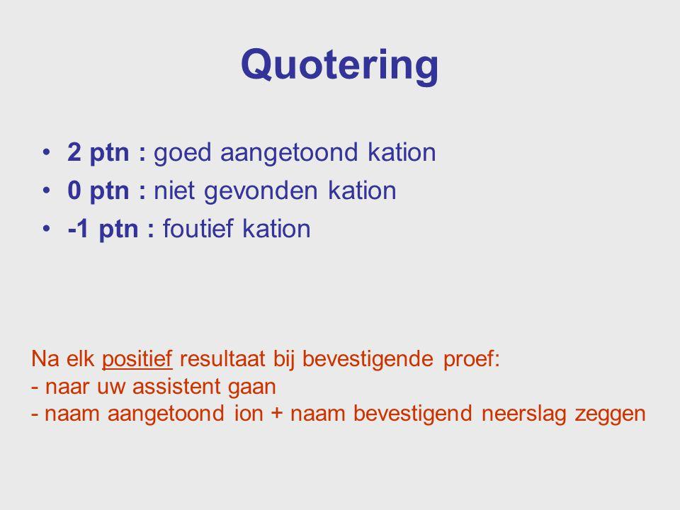 Quotering 2 ptn : goed aangetoond kation 0 ptn : niet gevonden kation -1 ptn : foutief kation Na elk positief resultaat bij bevestigende proef: - naar