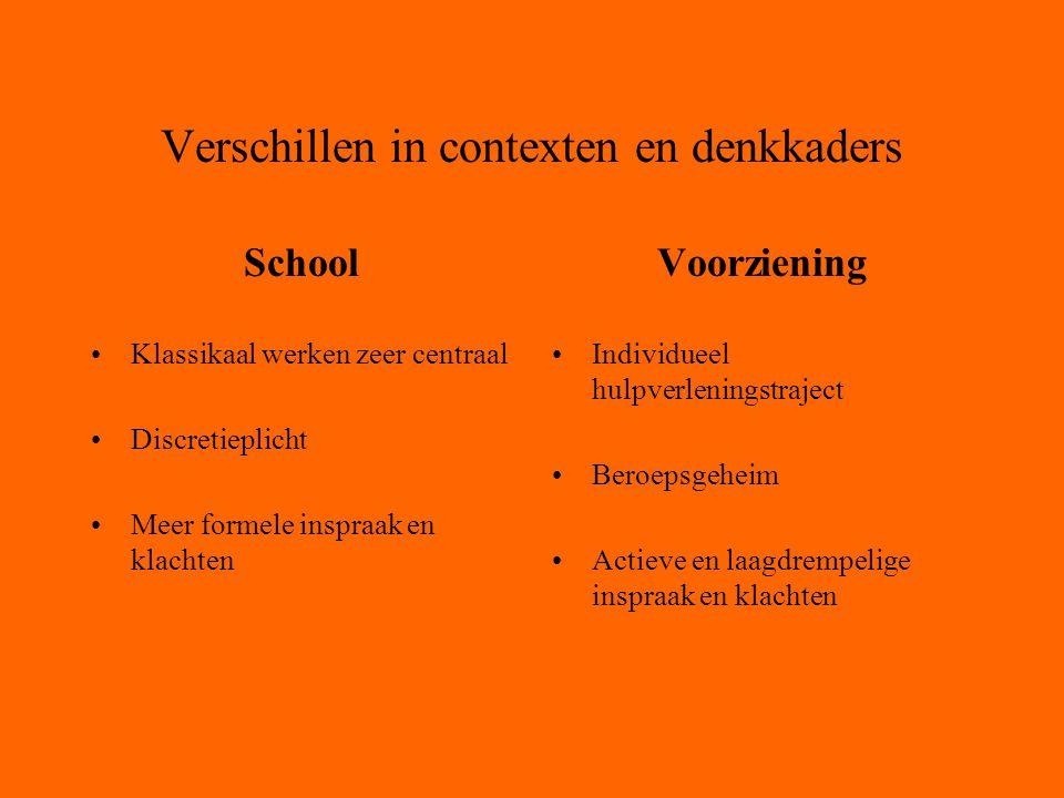 Verschillen in contexten en denkkaders School Klassikaal werken zeer centraal Discretieplicht Meer formele inspraak en klachten Voorziening Individueel hulpverleningstraject Beroepsgeheim Actieve en laagdrempelige inspraak en klachten