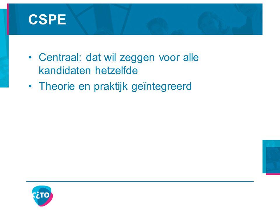 CSPE Centraal: dat wil zeggen voor alle kandidaten hetzelfde Theorie en praktijk geïntegreerd