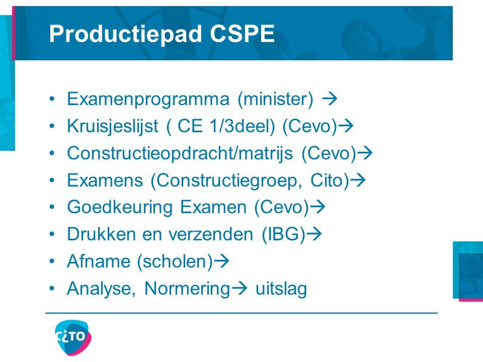 Productiepad CSPE Examenprogramma (minister)  Kruisjeslijst ( CE 1/3deel) (Cevo)  Constructieopdracht/matrijs (Cevo)  Examens (Constructiegroep, Cito)  Goedkeuring Examen (Cevo)  Drukken en verzenden (IBG)  Afname (scholen)  Analyse, Normering  uitslag