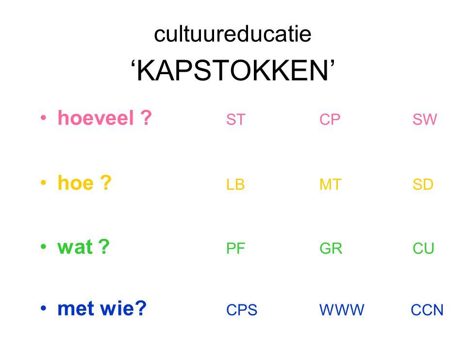 cultuureducatie 'KAPSTOKKEN' hoeveel ? STCPSW hoe ? LBMTSD wat ? PFGRCU met wie? CPSWWW CCN