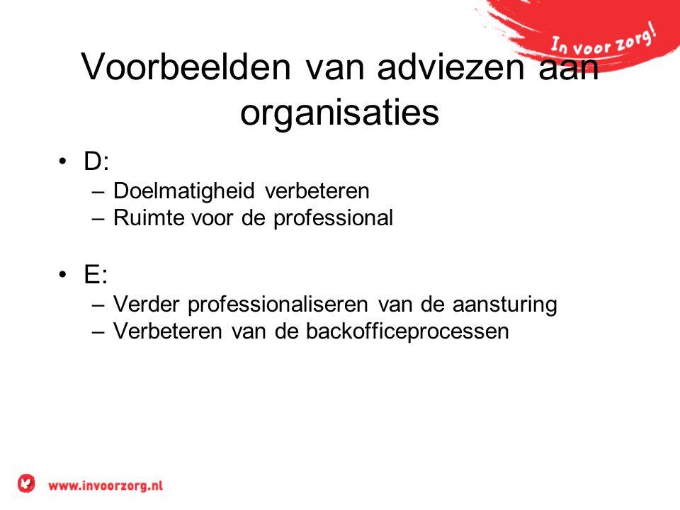 Voorbeelden van adviezen aan organisaties D: –Doelmatigheid verbeteren –Ruimte voor de professional E: –Verder professionaliseren van de aansturing –V