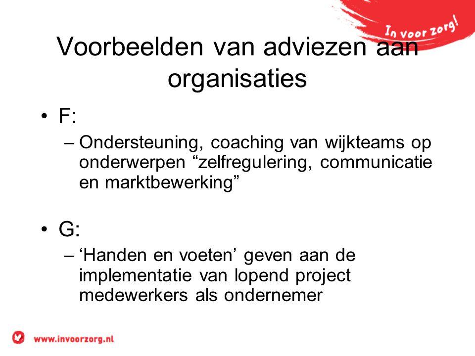 """Voorbeelden van adviezen aan organisaties F: –Ondersteuning, coaching van wijkteams op onderwerpen """"zelfregulering, communicatie en marktbewerking"""" G:"""