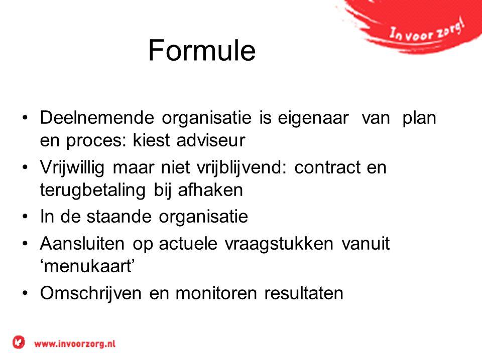 Formule Deelnemende organisatie is eigenaar van plan en proces: kiest adviseur Vrijwillig maar niet vrijblijvend: contract en terugbetaling bij afhake