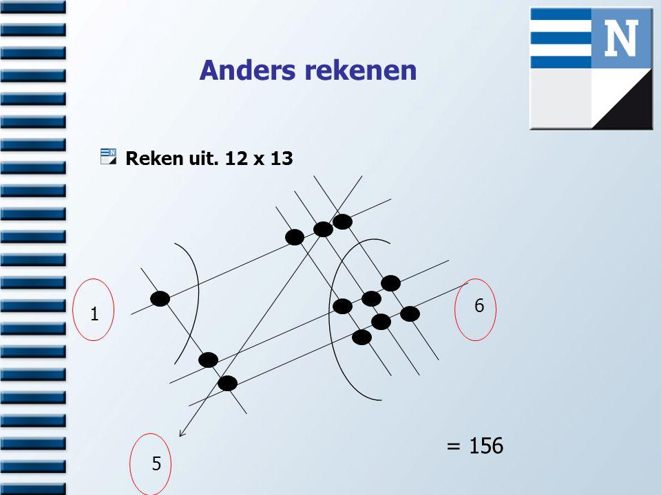 Anders rekenen Reken uit. 12 x 13 1 6 5 = 156