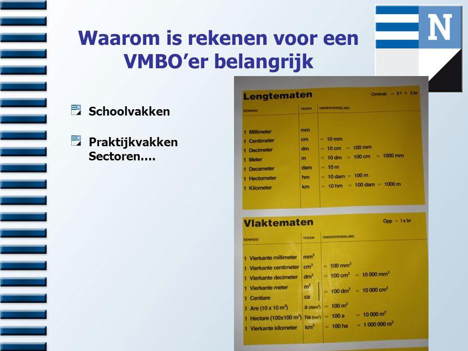 Waarom is rekenen voor een VMBO'er belangrijk Schoolvakken Praktijkvakken Sectoren….