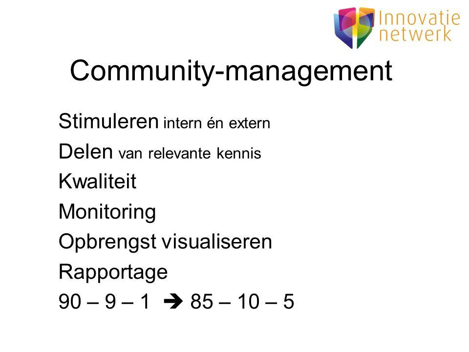 Community-management Stimuleren intern én extern Delen van relevante kennis Kwaliteit Monitoring Opbrengst visualiseren Rapportage 90 – 9 – 1  85 – 1