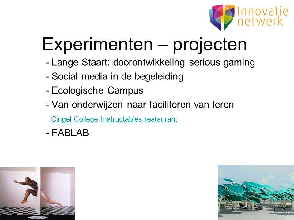 Experimenten – projecten - Lange Staart: doorontwikkeling serious gaming - Social media in de begeleiding - Ecologische Campus - Van onderwijzen naar