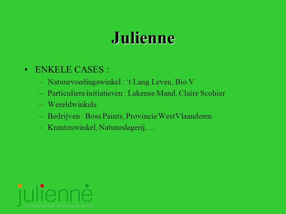 Julienne ENKELE CASES : –Natuurvoedingswinkel : 't Lang Leven, Bio V –Particuliere initiatieven : Lakense Mand, Claire Scohier –Wereldwinkels –Bedrijven : Boss Paints, Provincie WestVlaanderen –Krantenwinkel, Natuurslagerij, …