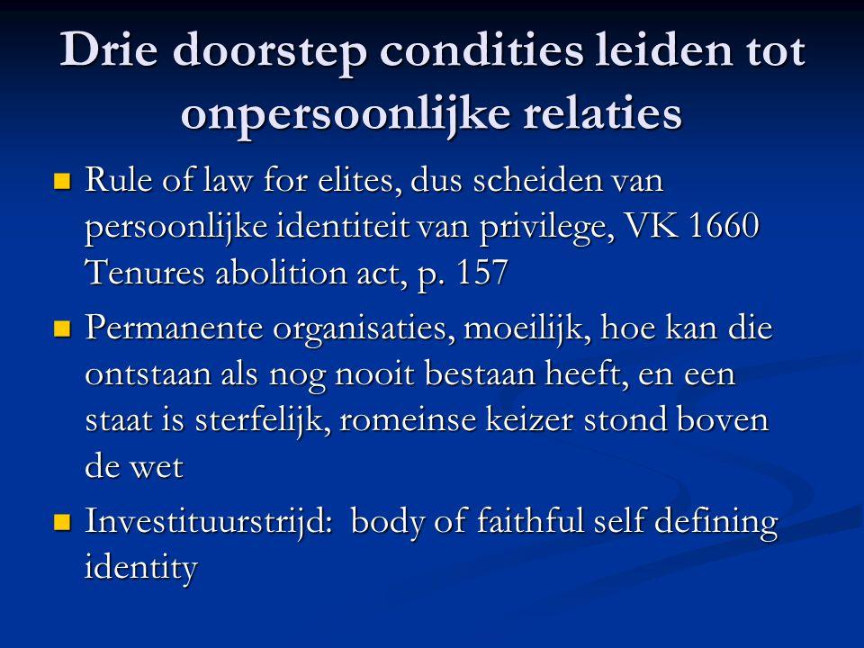 Drie doorstep condities leiden tot onpersoonlijke relaties Rule of law for elites, dus scheiden van persoonlijke identiteit van privilege, VK 1660 Tenures abolition act, p.