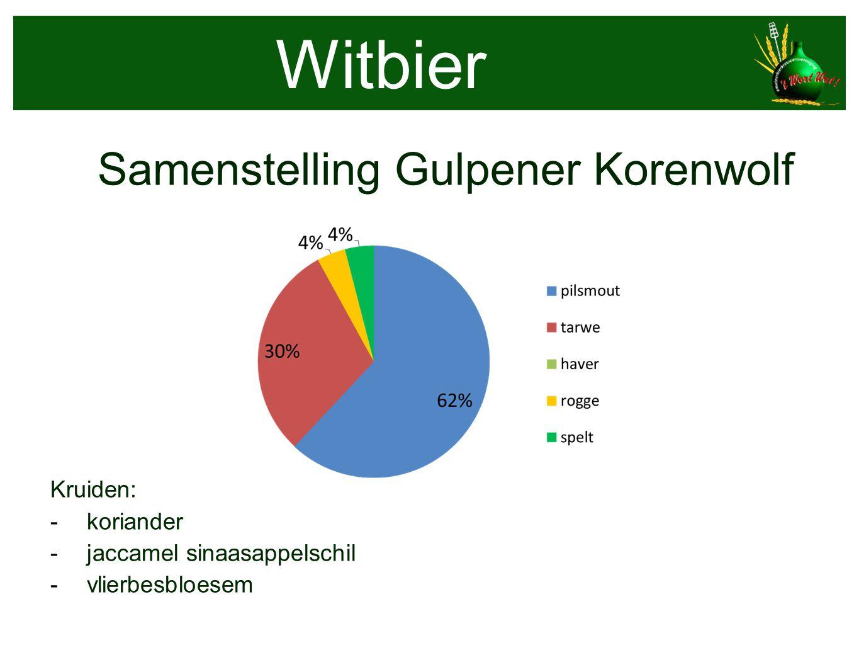 Samenstelling Gulpener Korenwolf Kruiden: - koriander - jaccamel sinaasappelschil - vlierbesbloesem