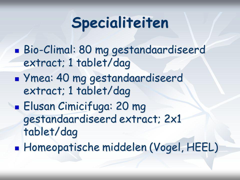 Specialiteiten Bio-Climal: 80 mg gestandaardiseerd extract; 1 tablet/dag Bio-Climal: 80 mg gestandaardiseerd extract; 1 tablet/dag Ymea: 40 mg gestandaardiseerd extract; 1 tablet/dag Ymea: 40 mg gestandaardiseerd extract; 1 tablet/dag Elusan Cimicifuga: 20 mg gestandaardiseerd extract; 2x1 tablet/dag Elusan Cimicifuga: 20 mg gestandaardiseerd extract; 2x1 tablet/dag Homeopatische middelen (Vogel, HEEL) Homeopatische middelen (Vogel, HEEL)