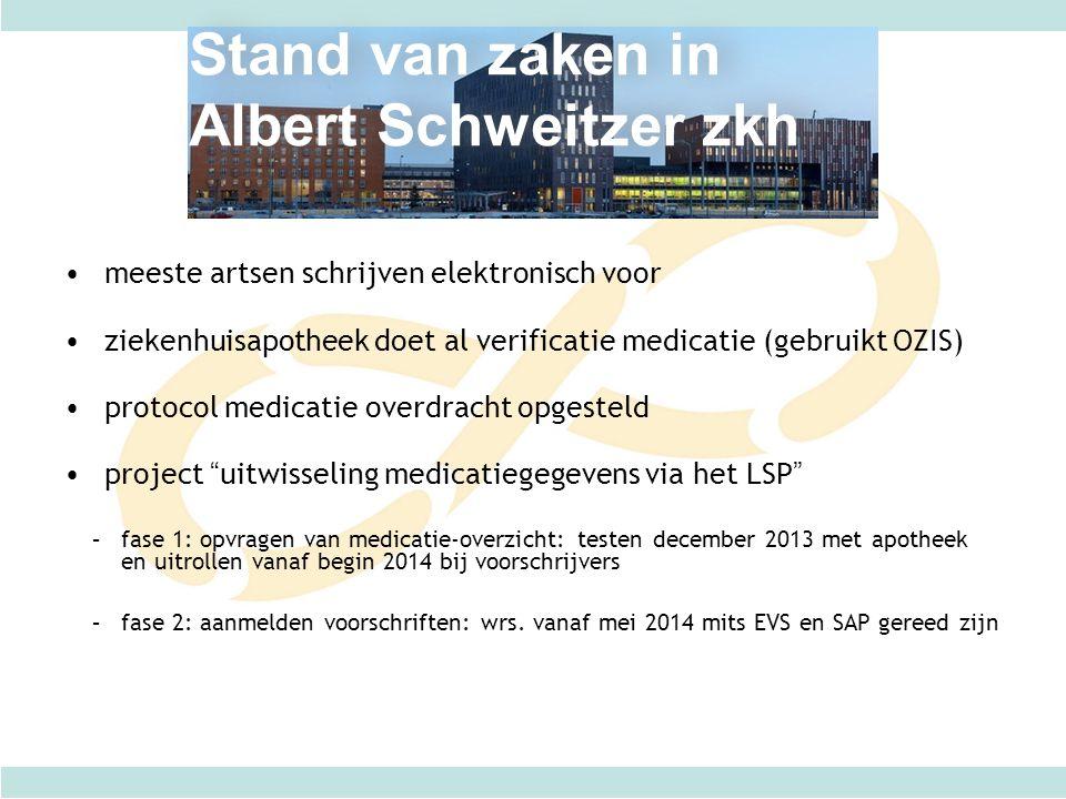 Stand van zaken in Albert Schweitzer zkh meeste artsen schrijven elektronisch voor ziekenhuisapotheek doet al verificatie medicatie (gebruikt OZIS) pr