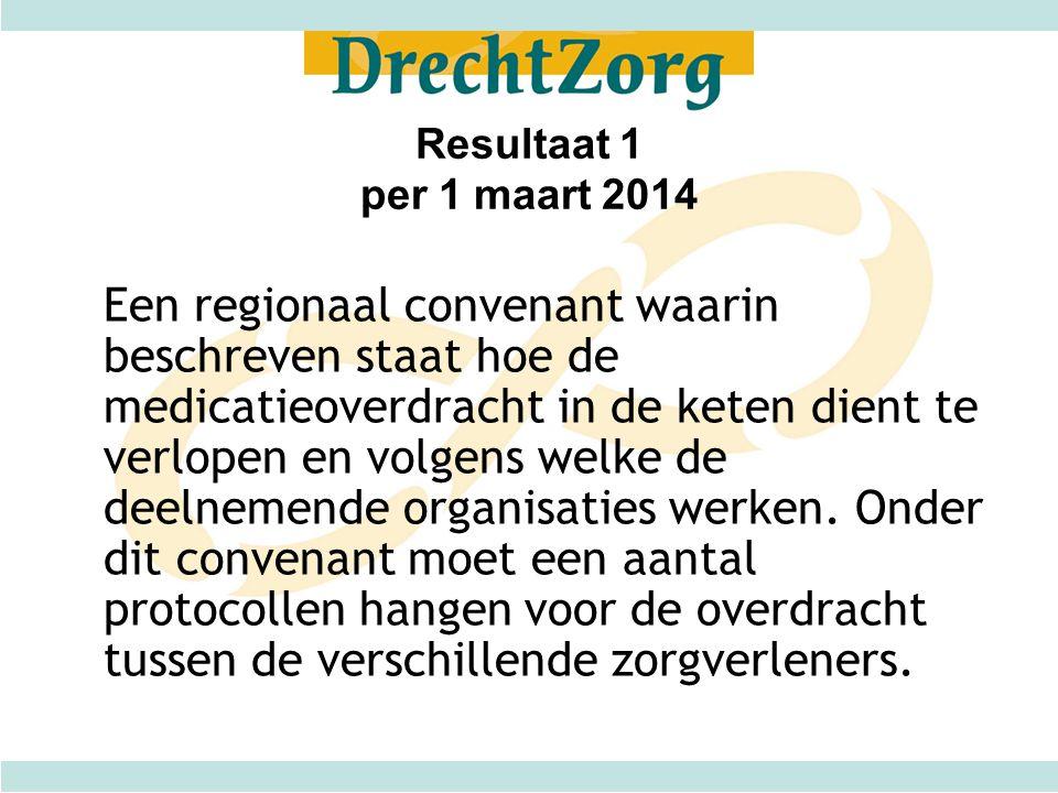 Resultaat 1 per 1 maart 2014 Een regionaal convenant waarin beschreven staat hoe de medicatieoverdracht in de keten dient te verlopen en volgens welke