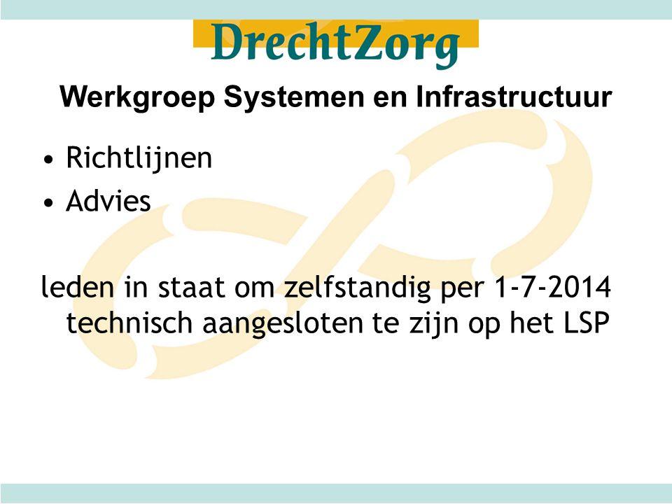 Werkgroep Systemen en Infrastructuur Richtlijnen Advies leden in staat om zelfstandig per 1-7-2014 technisch aangesloten te zijn op het LSP