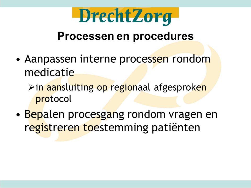 Processen en procedures Aanpassen interne processen rondom medicatie  in aansluiting op regionaal afgesproken protocol Bepalen procesgang rondom vrag