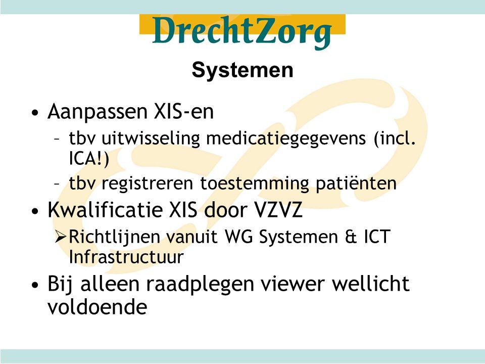 Systemen Aanpassen XIS-en –tbv uitwisseling medicatiegegevens (incl. ICA!) –tbv registreren toestemming patiënten Kwalificatie XIS door VZVZ  Richtli