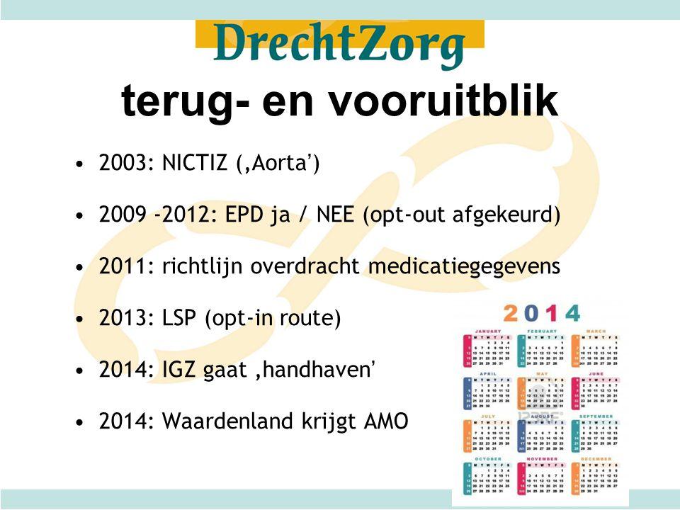 terug- en vooruitblik 2003: NICTIZ ('Aorta') 2009 -2012: EPD ja / NEE (opt-out afgekeurd) 2011: richtlijn overdracht medicatiegegevens 2013: LSP (opt-
