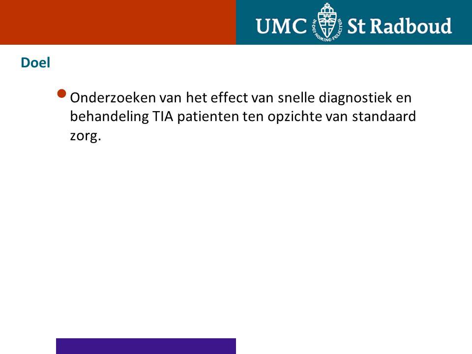 Doel Onderzoeken van het effect van snelle diagnostiek en behandeling TIA patienten ten opzichte van standaard zorg.