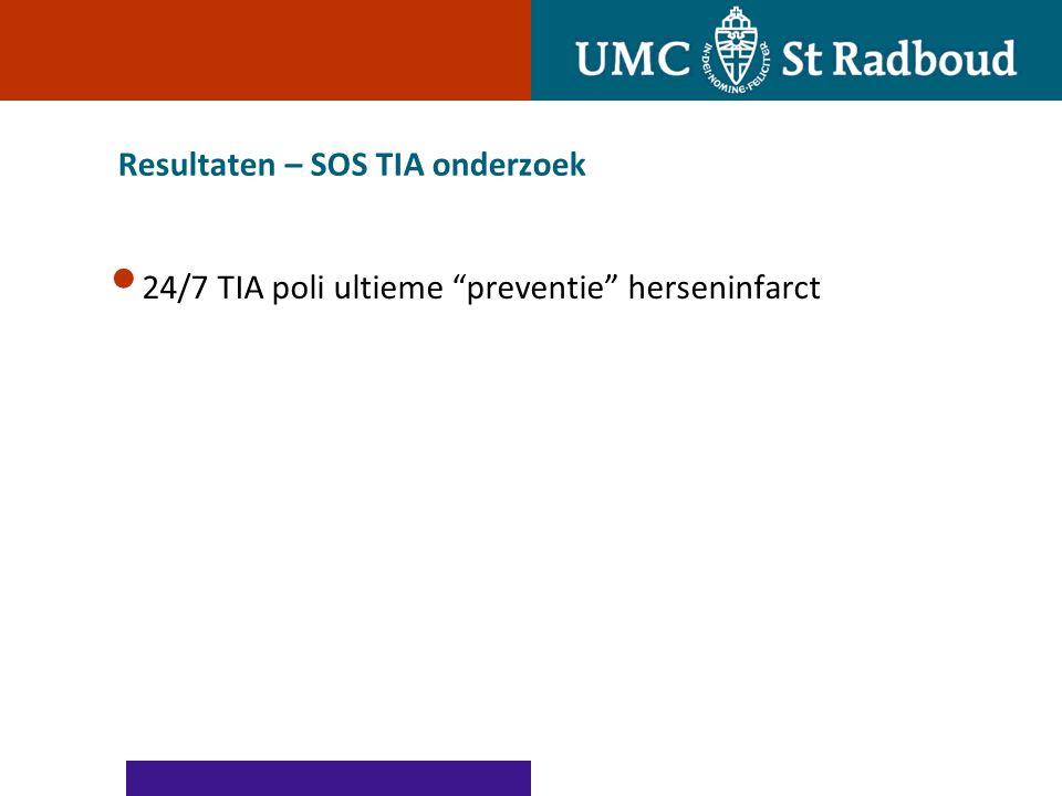 """Resultaten – SOS TIA onderzoek 24/7 TIA poli ultieme """"preventie"""" herseninfarct"""