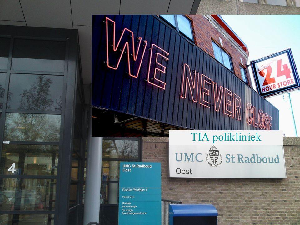 """CVA keten; """"beter worden buiten het Radboud"""" actie en resultaat TIA polikliniek"""