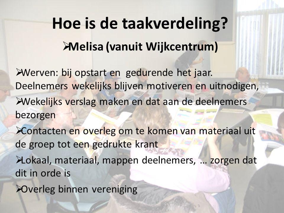 Hoe is de taakverdeling. Melisa (vanuit Wijkcentrum)  Werven: bij opstart en gedurende het jaar.
