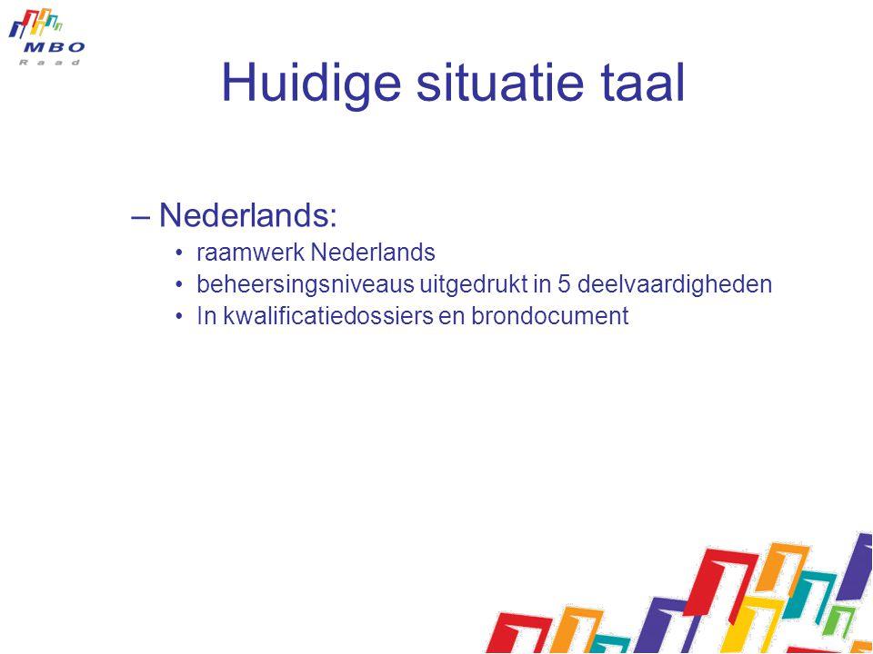 Huidige situatie taal –Nederlands: raamwerk Nederlands beheersingsniveaus uitgedrukt in 5 deelvaardigheden In kwalificatiedossiers en brondocument