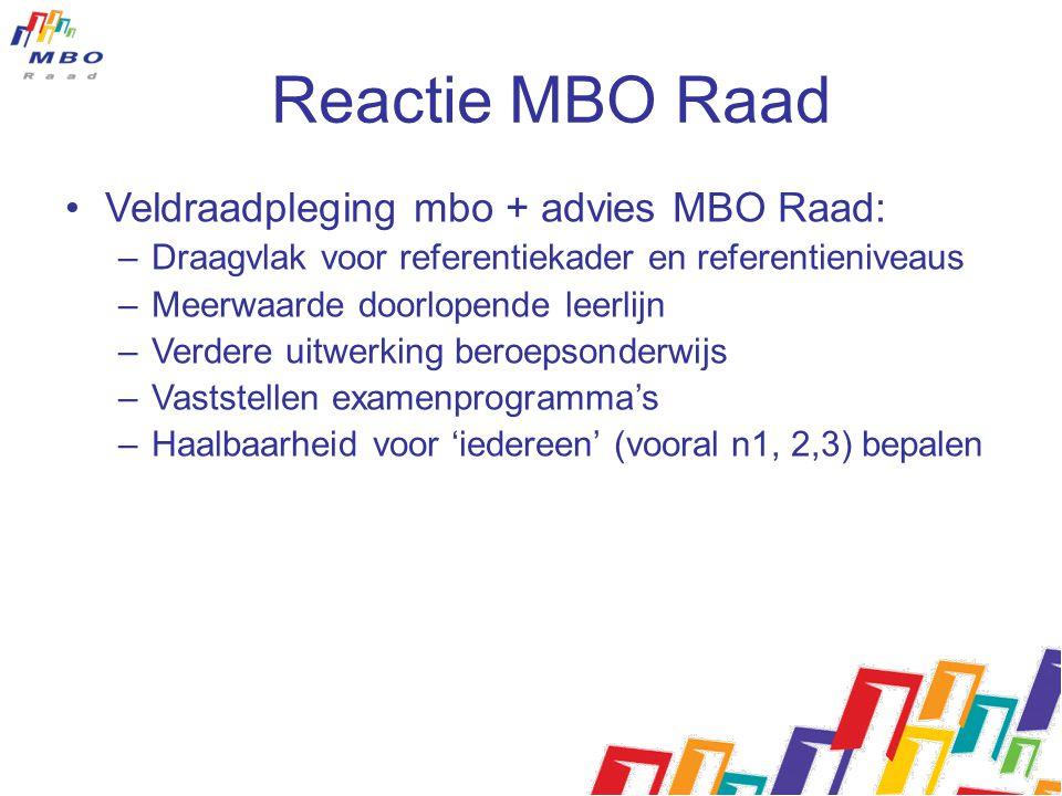 Reactie MBO Raad Veldraadpleging mbo + advies MBO Raad: –Draagvlak voor referentiekader en referentieniveaus –Meerwaarde doorlopende leerlijn –Verdere