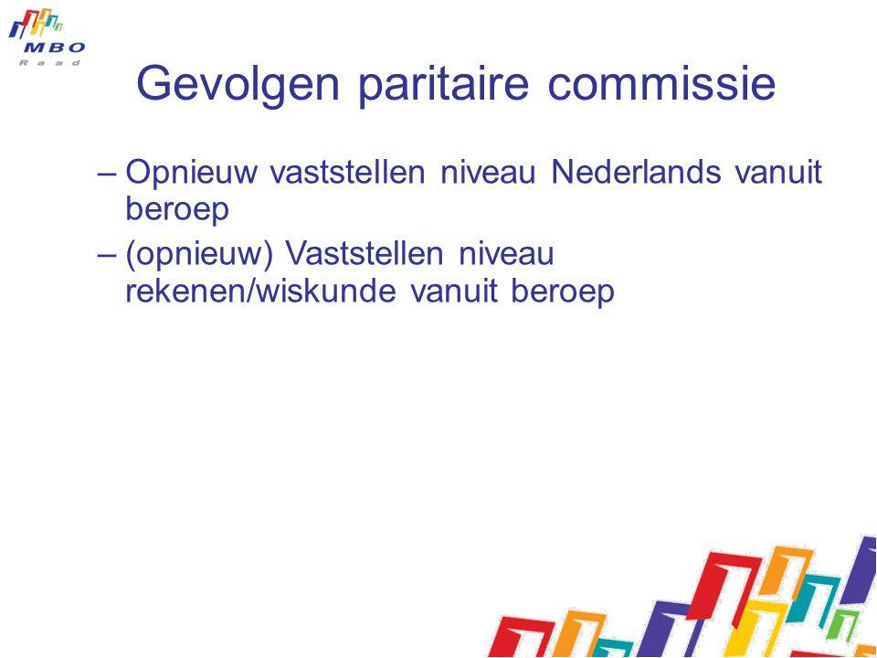 Gevolgen paritaire commissie –Opnieuw vaststellen niveau Nederlands vanuit beroep –(opnieuw) Vaststellen niveau rekenen/wiskunde vanuit beroep