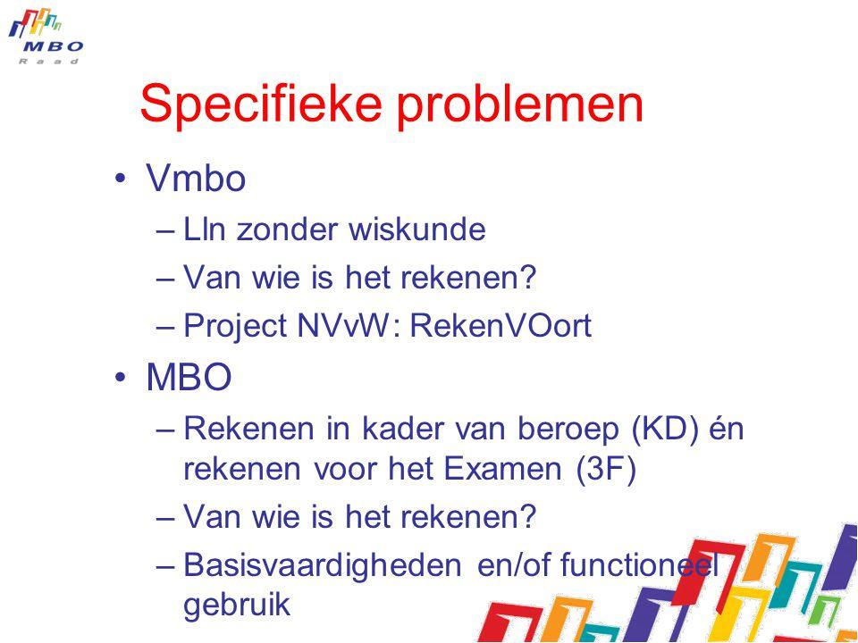 Specifieke problemen Vmbo –Lln zonder wiskunde –Van wie is het rekenen? –Project NVvW: RekenVOort MBO –Rekenen in kader van beroep (KD) én rekenen voo