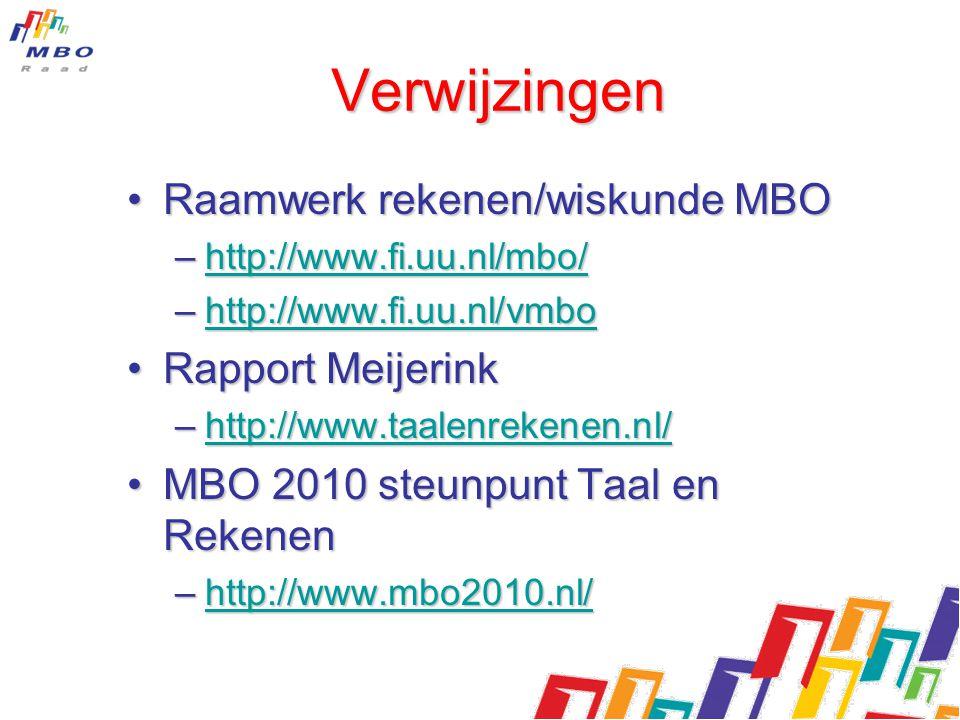 Verwijzingen Raamwerk rekenen/wiskunde MBORaamwerk rekenen/wiskunde MBO –http://www.fi.uu.nl/mbo/ http://www.fi.uu.nl/mbo/ –http://www.fi.uu.nl/vmbo h