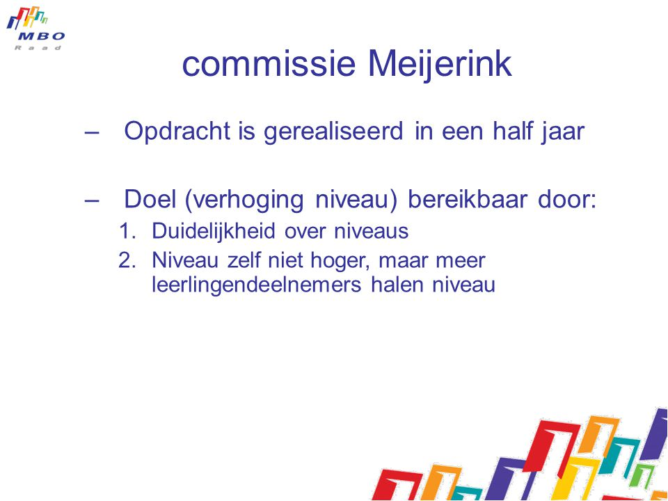 commissie Meijerink –Opdracht is gerealiseerd in een half jaar –Doel (verhoging niveau) bereikbaar door: 1.Duidelijkheid over niveaus 2.Niveau zelf ni