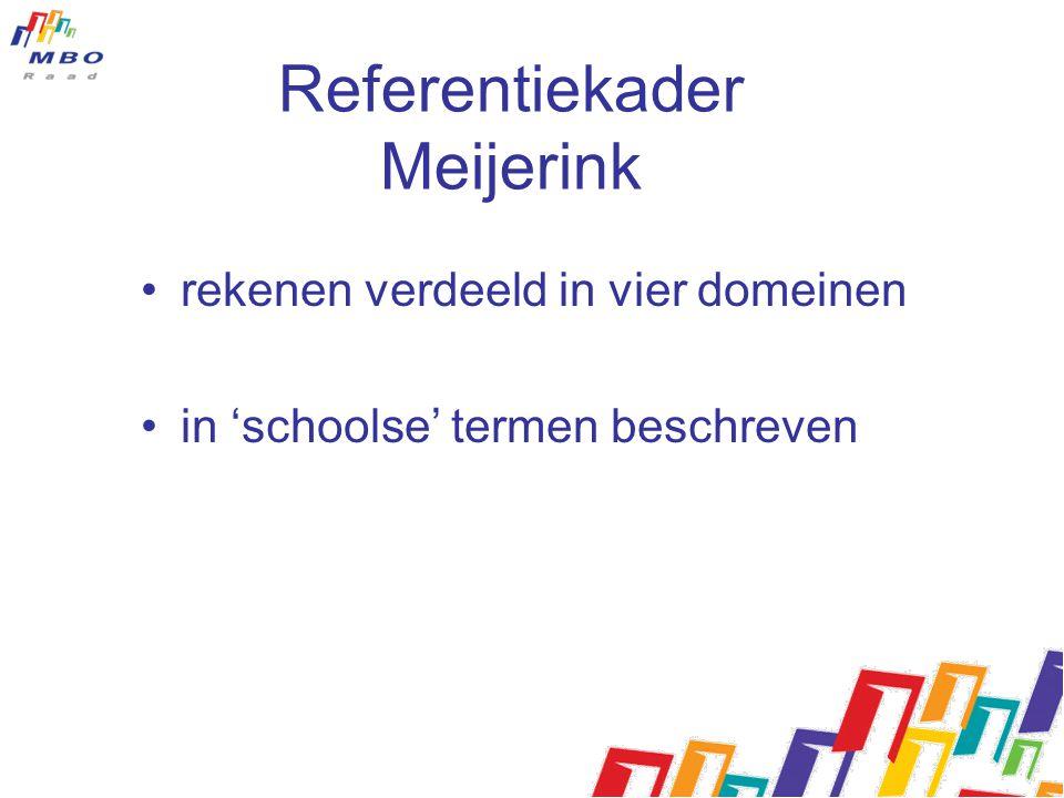 Kaders rekenen/wiskunde MBO Referentiekader Meijerink –Voor alle onderwijstypen 4 -20 jaar –Komt in de wet –MBO: voor leren, loopbaan burgerschap Raamwerk rekenen/wiskunde MBO –Voor (v)mbo –Geen wettelijke status –MBO: Voor functioneel gebruik rekenen/wiskunde mn in relatie tot beroepscompetenties (KD)
