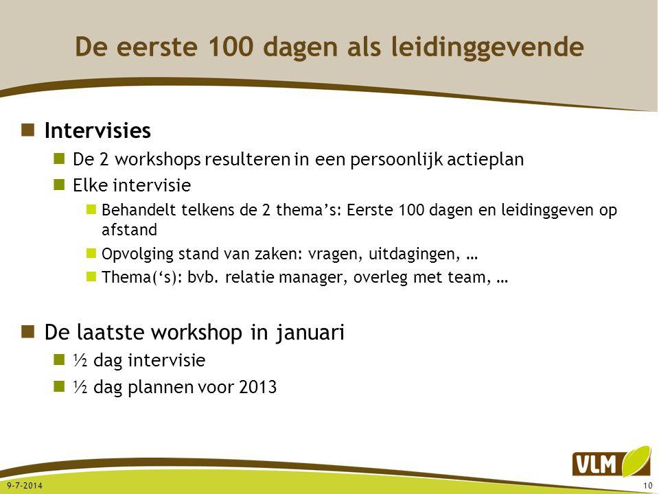 De eerste 100 dagen als leidinggevende Intervisies De 2 workshops resulteren in een persoonlijk actieplan Elke intervisie Behandelt telkens de 2 thema's: Eerste 100 dagen en leidinggeven op afstand Opvolging stand van zaken: vragen, uitdagingen, … Thema('s): bvb.