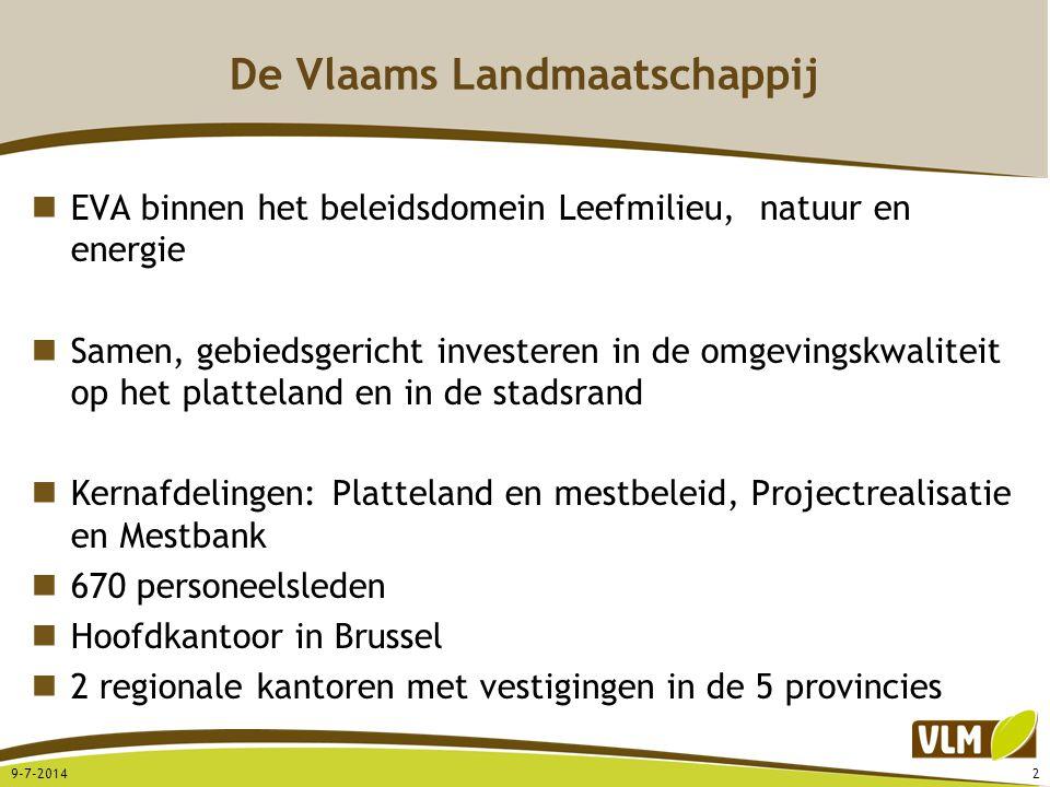 De Vlaams Landmaatschappij EVA binnen het beleidsdomein Leefmilieu, natuur en energie Samen, gebiedsgericht investeren in de omgevingskwaliteit op het
