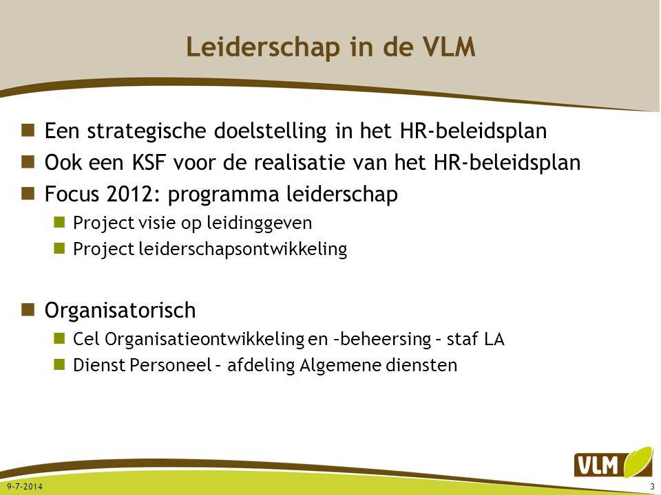 Leiderschap in de VLM Een strategische doelstelling in het HR-beleidsplan Ook een KSF voor de realisatie van het HR-beleidsplan Focus 2012: programma