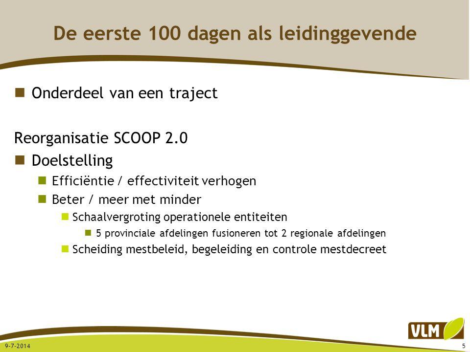 De eerste 100 dagen als leidinggevende Onderdeel van een traject Reorganisatie SCOOP 2.0 Doelstelling Efficiëntie / effectiviteit verhogen Beter / mee