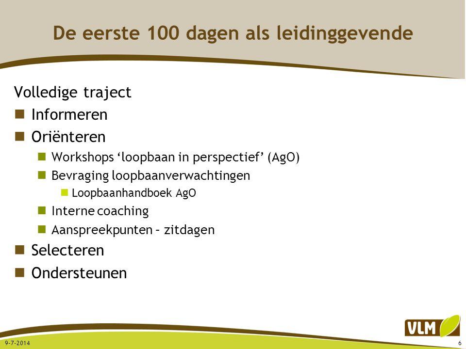 De eerste 100 dagen als leidinggevende Volledige traject Informeren Oriënteren Workshops 'loopbaan in perspectief' (AgO) Bevraging loopbaanverwachtingen Loopbaanhandboek AgO Interne coaching Aanspreekpunten – zitdagen Selecteren Ondersteunen 9-7-20146