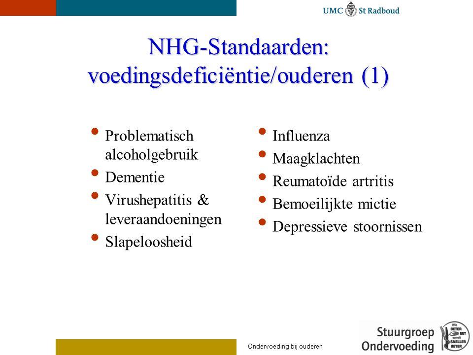 NHG-Standaarden: voedingsdeficiëntie/ouderen (1) Problematisch alcoholgebruik Dementie Virushepatitis & leveraandoeningen Slapeloosheid Influenza Maagklachten Reumatoïde artritis Bemoeilijkte mictie Depressieve stoornissen Ondervoeding bij ouderen