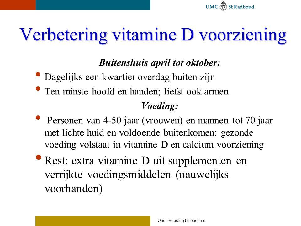 Ondervoeding bij ouderen Verbetering vitamine D voorziening Buitenshuis april tot oktober: Dagelijks een kwartier overdag buiten zijn Ten minste hoofd