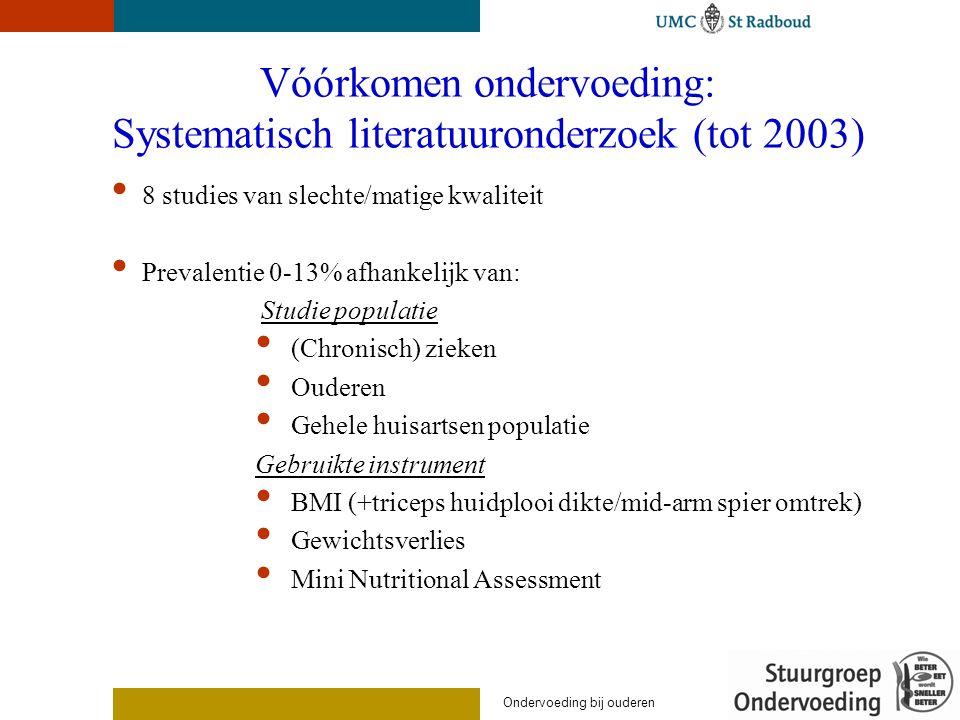 Vóórkomen ondervoeding: Systematisch literatuuronderzoek (tot 2003) 8 studies van slechte/matige kwaliteit Prevalentie 0-13% afhankelijk van: Studie p