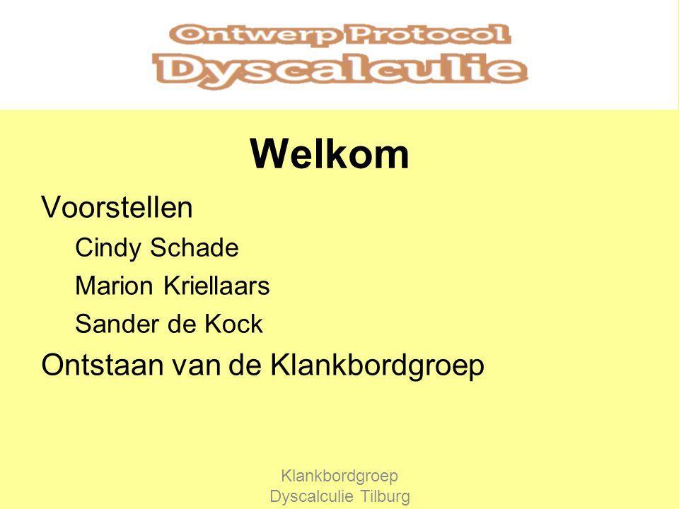 Welkom Voorstellen Cindy Schade Marion Kriellaars Sander de Kock Ontstaan van de Klankbordgroep Klankbordgroep Dyscalculie Tilburg