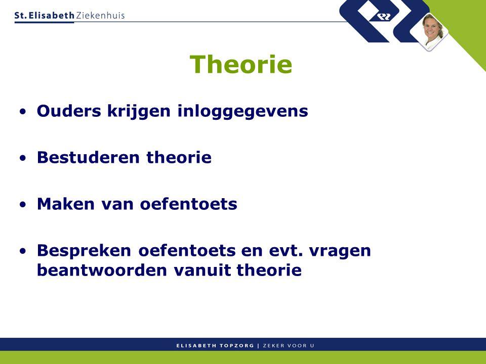 Theorie Ouders krijgen inloggegevens Bestuderen theorie Maken van oefentoets Bespreken oefentoets en evt.