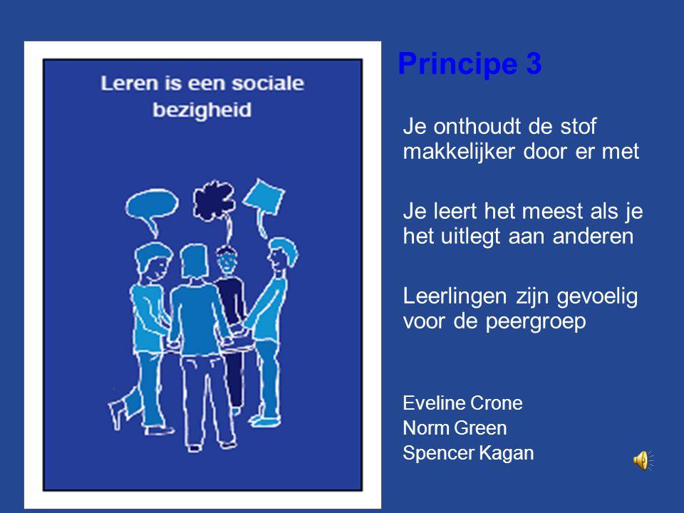 Principe 3 Je onthoudt de stof makkelijker door er met Je leert het meest als je het uitlegt aan anderen Leerlingen zijn gevoelig voor de peergroep Eveline Crone Norm Green Spencer Kagan