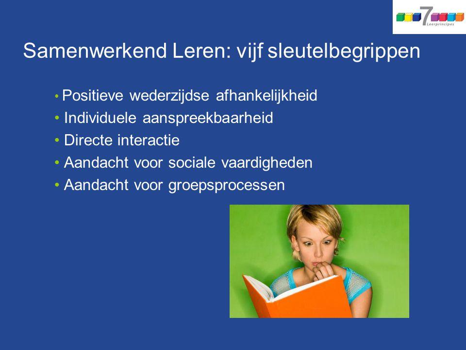 Samenwerkend Leren: vijf sleutelbegrippen Positieve wederzijdse afhankelijkheid Individuele aanspreekbaarheid Directe interactie Aandacht voor sociale