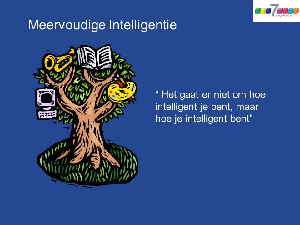 """Meervoudige Intelligentie """" Het gaat er niet om hoe intelligent je bent, maar hoe je intelligent bent"""""""