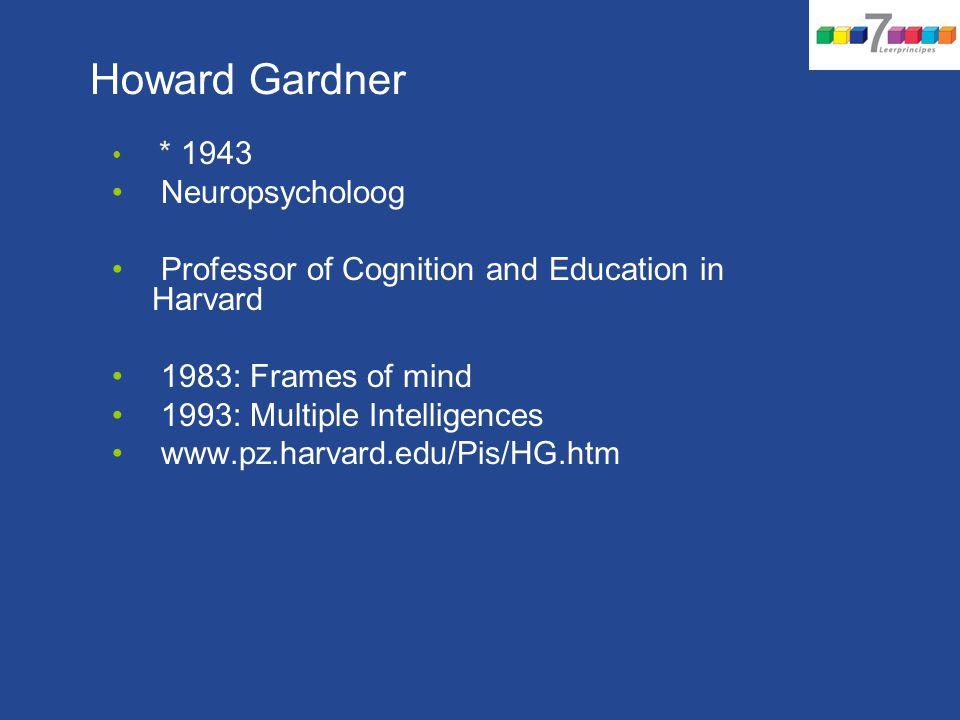 Howard Gardner * 1943 Neuropsycholoog Professor of Cognition and Education in Harvard 1983: Frames of mind 1993: Multiple Intelligences www.pz.harvard.edu/Pis/HG.htm