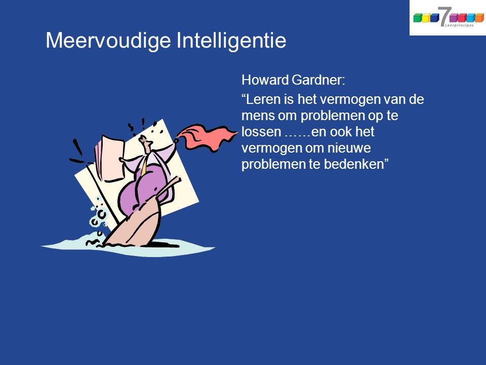 Meervoudige Intelligentie Howard Gardner: Leren is het vermogen van de mens om problemen op te lossen ……en ook het vermogen om nieuwe problemen te bedenken
