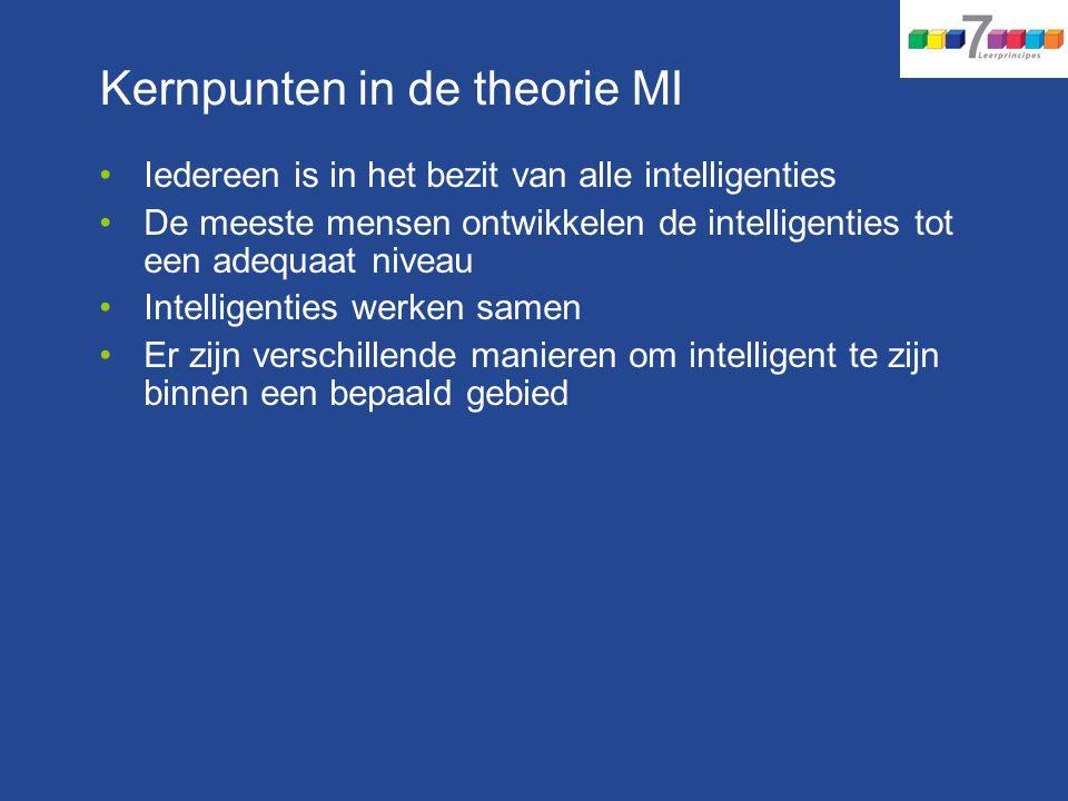 Kernpunten in de theorie MI Iedereen is in het bezit van alle intelligenties De meeste mensen ontwikkelen de intelligenties tot een adequaat niveau In